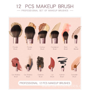 12 Pieces Grapelet Makeup Brush Set Hot