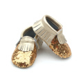 Wholesales Leather Gold Sequin Baby Shoes