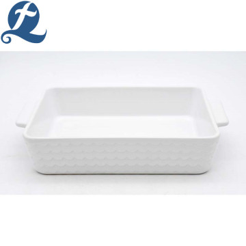 China production custom wholesale price water ripple printed ceramic handle baking tray