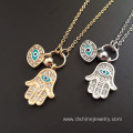 Long Chain Rhinestone Evil Eye Fatima's Hand Pendant Necklace
