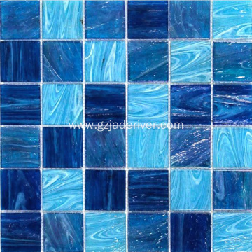 Swimming Pool Floor Blue Glass Mosaic Stone