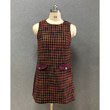 women's sleeve less tweed dress