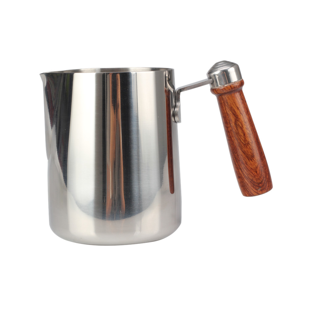 Stain Polishing milk pitcher with wooden handle