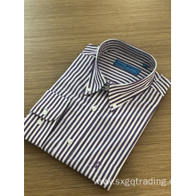 Male stand-up collar yarn dyed embroidery stripe shirt