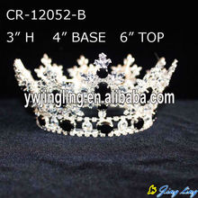 Black Rhinestone Boy Full Round Crowns