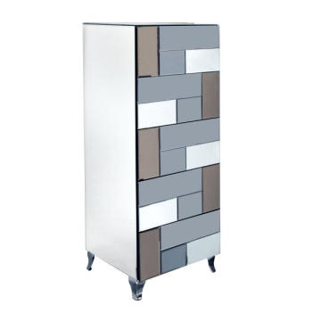 5 Drawer Colored Mirror MDF Painting Tallboy