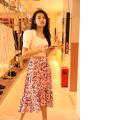 LADIES PRINT MIDI SKIRT