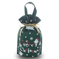 Green Cartoon Pattern Christmas non-woven Handle gift bags