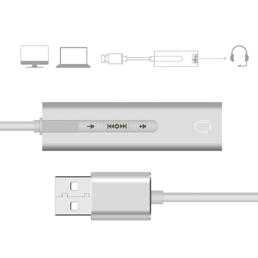USB To 3.5mm Jack Sound Card USB Audio Interface headphone Adapter Soundcard for PC Laptop Computer External Sound Card