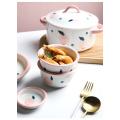 Fresh Peach Ceramic Dinner Plate Set And Dishes Milk Pot Creative Rice Soup Bowl Steak Sushi Plate Household Breakfast Set