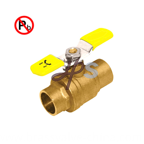 Low Lead Brass Solder Ball Valve With Lever Handle