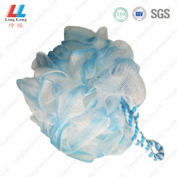Nylon rope two color sponge ball