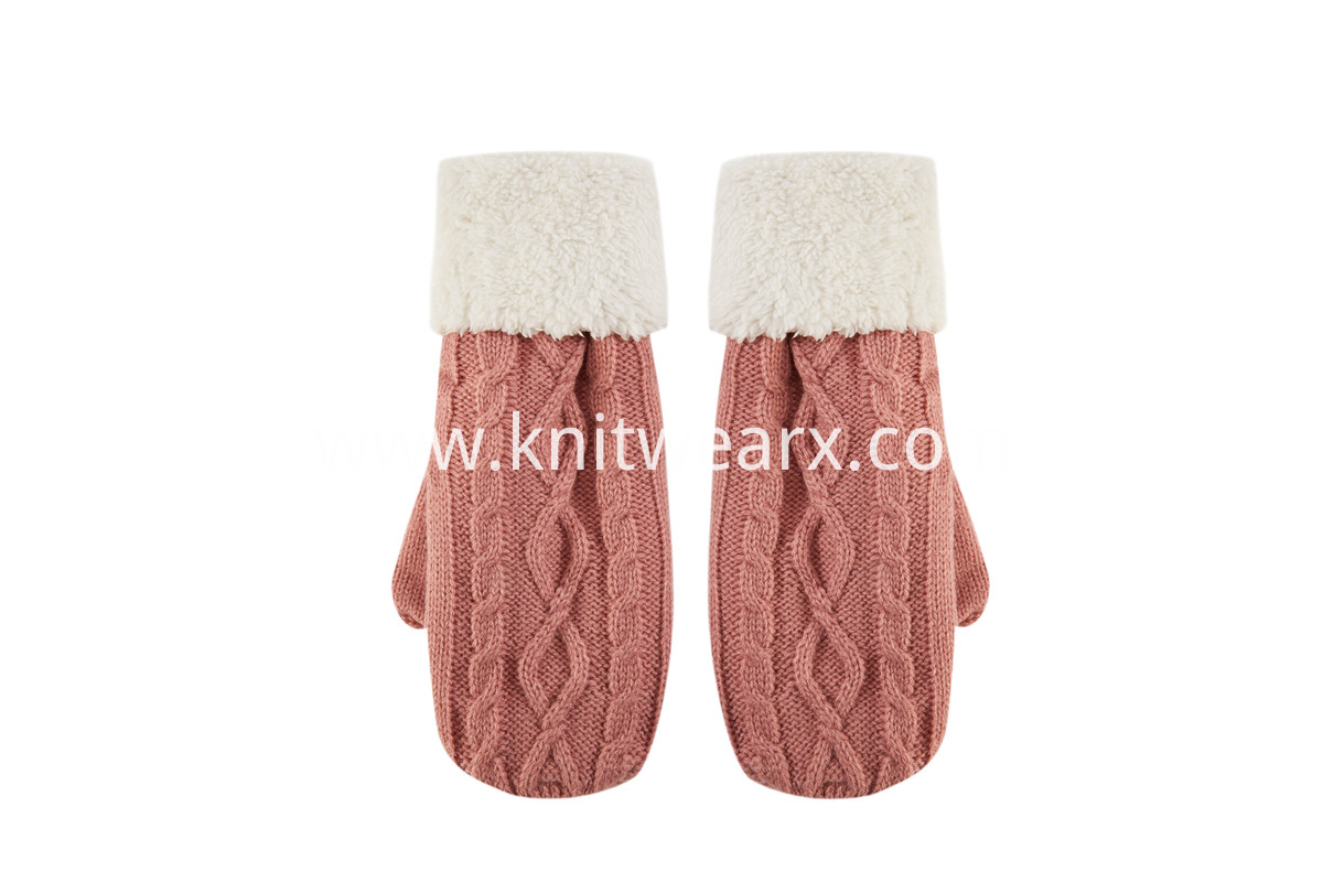 Girls' Twisted Cable Knit Fleece Lining Mittens Gloves