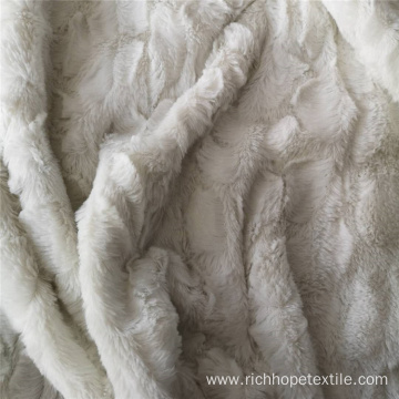White Embossed Pv Plush Fleece Fabric Polyester
