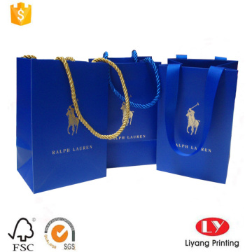 Small blue promotion gift bag with handle