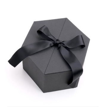 Hexagon packaging folding gift boxes with ribbon