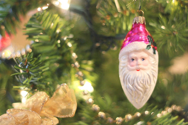 Vintage Glass Santa Ornament