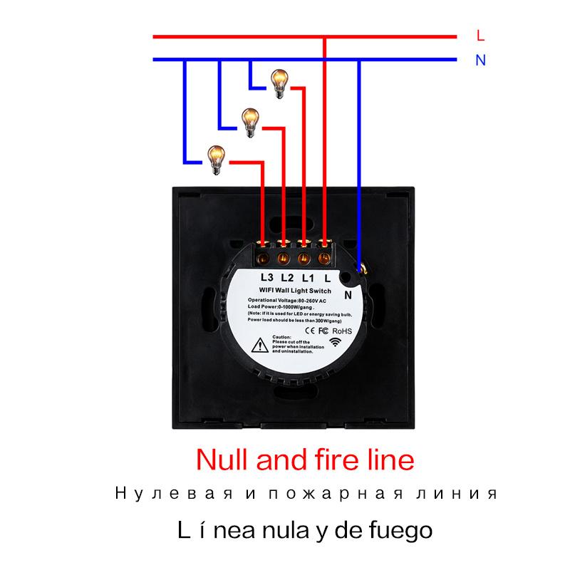 EsooLi Tuya Smart Life Glass Panel EU/UK Standard Touch Switch Zero/Single Fire Line Voice Control Light Wireless Wall Switch