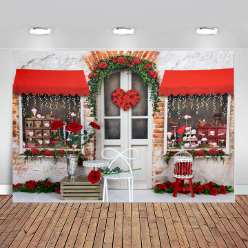 Photography Backdrops Red Rose Flowers Bakery Shop Store Arch Door Valentine Day Romantic Custom Photo Backdrop Background Vinyl