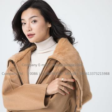 Cashmere Coat With Mink Fur For Lady