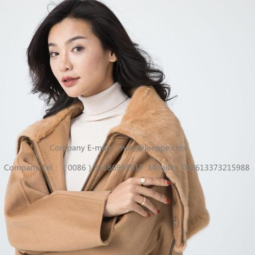 Lady Cashmere Coat With Mink Fur