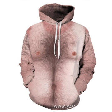 Naked body with hairs 3D printing hoodie