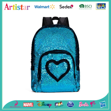 blue heart sequins backpack