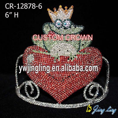 Frog Rhinestone Heart Pageant Crowns Valentine's Day