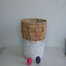 Round hyacinth and banana leaf rope basket