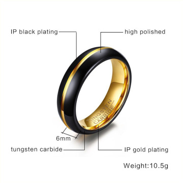 6mm black and gold womens tungsten wedding bands