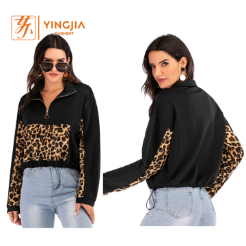 Women's Casual Stitching Leopard Print Pullover Sweatshirt
