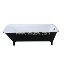 Black free standing pure acrylic rectangle bathtub