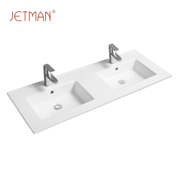Wholesale countertop ceramic sink bathroom double wash basin