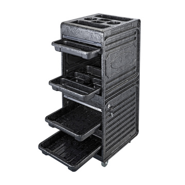 Black Storage Trolley Utility For Hair Salon