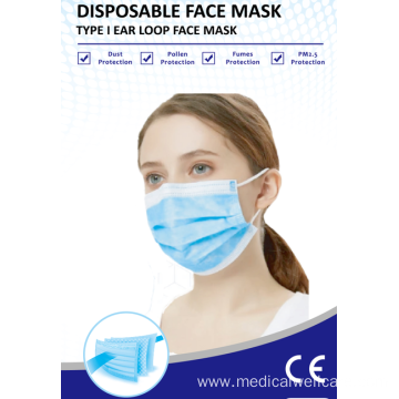non-woven disposable medical face mask with ear loop