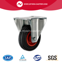 6'' Plate Rigid Black Rubber PP core Caster