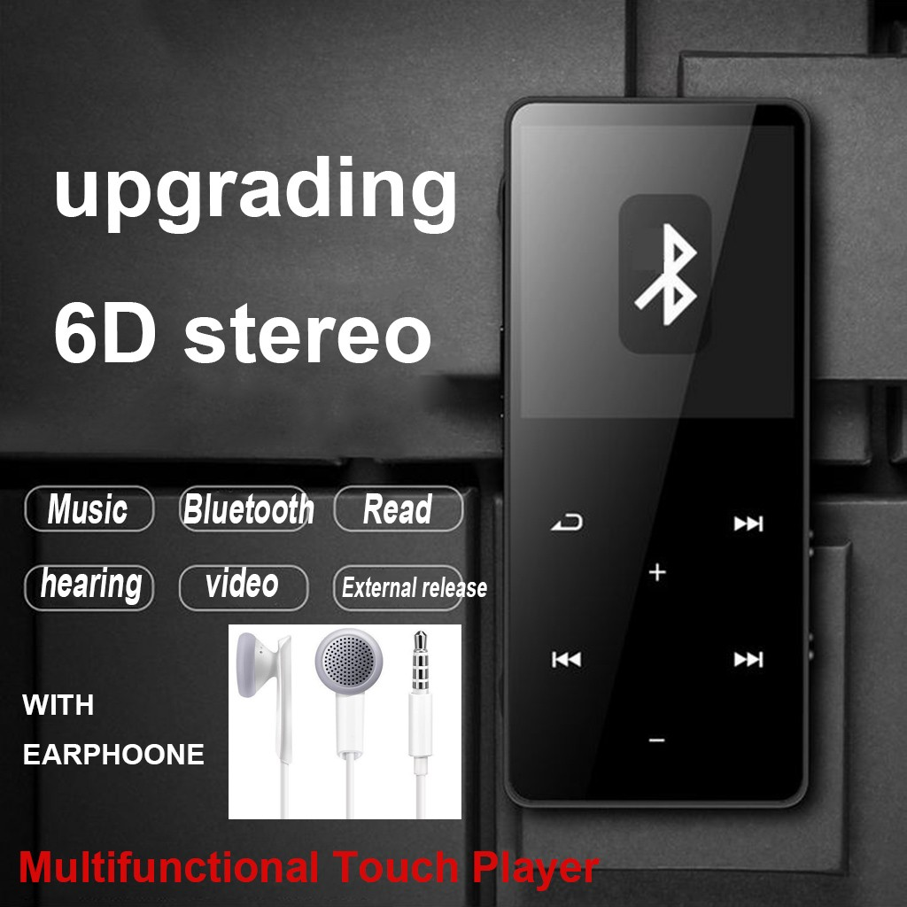 Mini Bluetooth MP3 MP4 Player 4GB With FM Media Touch Key Sport Music Speakers TXT E-book FM Recorder TF Card Droshipping#T2