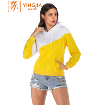Custom Matching Women Color Block Long Sleeve Hoodies