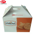 Corrugated paper cookie packaging box with handle