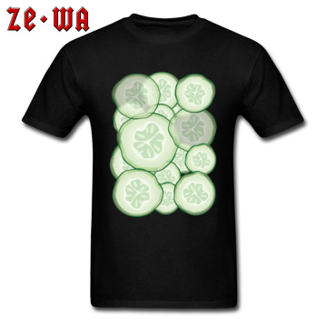 Cucumber Slices Tees Men T Shirt Fresh Summer Style T-shirt Cold Black Tshirts Cotton Top Clothes Simple Tees Father Day Gifts