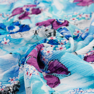 Wholesale floral printed 100% viscose crepe yoryu fabric