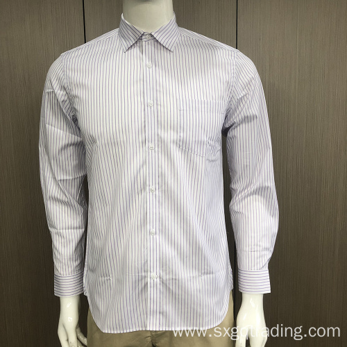 Male stripe long sleeve stand-up collar shirt