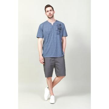 MEN'S V NECK BUTTON CASUAL T-SHIRTS