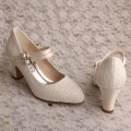 Block Heel Wedding Shoes for Bride with Laces