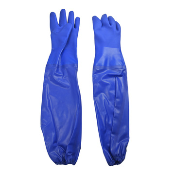 Blue PVC Dipped gloves with reinforced cuff