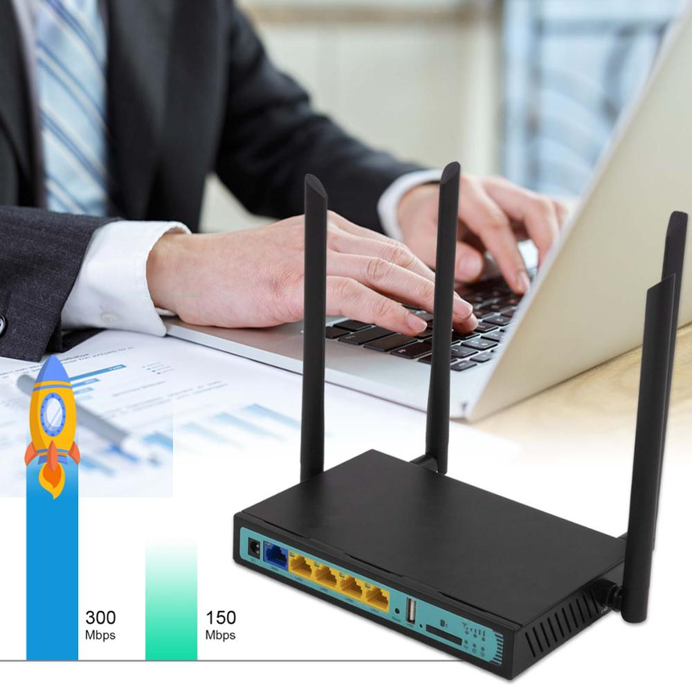 FDD TDD 4G LTE Wifi Router 300 Mbps With SIM Card Slot 128MB RAM 16MB Flash Support T-Mobile AT&T Verizon VPN English Firmare
