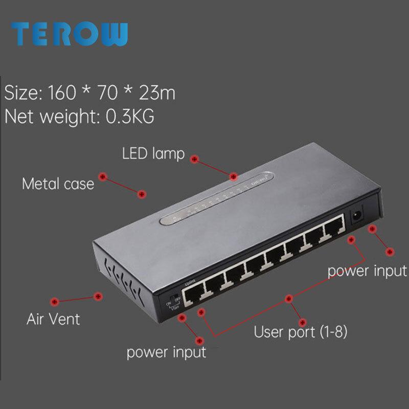 8-Port Gigabit Network Switch 10/100/1000Mbps Switch VLAN For Monitoring An-ti Burnning Enterprise Network Switcher Plug Play