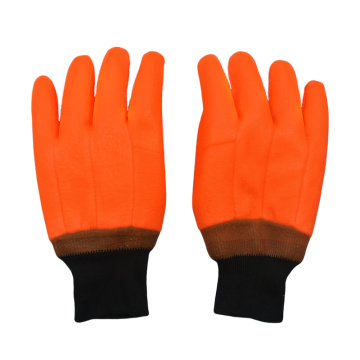 Fluorescent Orange PVC coated gloves sandy finish