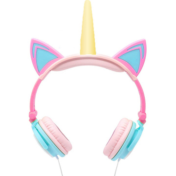 Fabrik LED Berkelip Unicorn Cat Ears Headphone Kids
