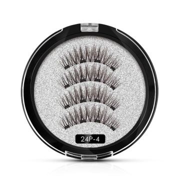 Round box magnetic false eyelashes black four magnet